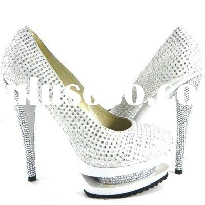 New style high-heel dress shoes,suede leather diamond shoes ,silver