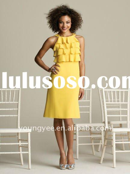 New style knee-length chiffon western yellow bridesmaid dress cheap on sale(BM10021)