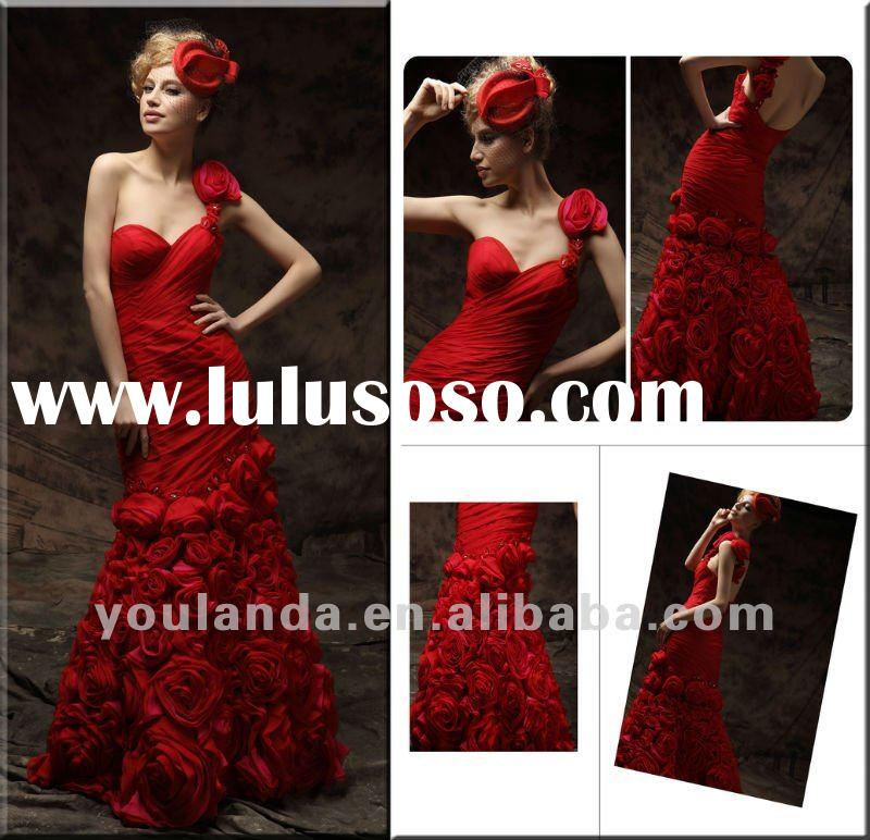 Noble Red Chiffon One-Shoulder Handmade Flowers Beaded Evening Dress