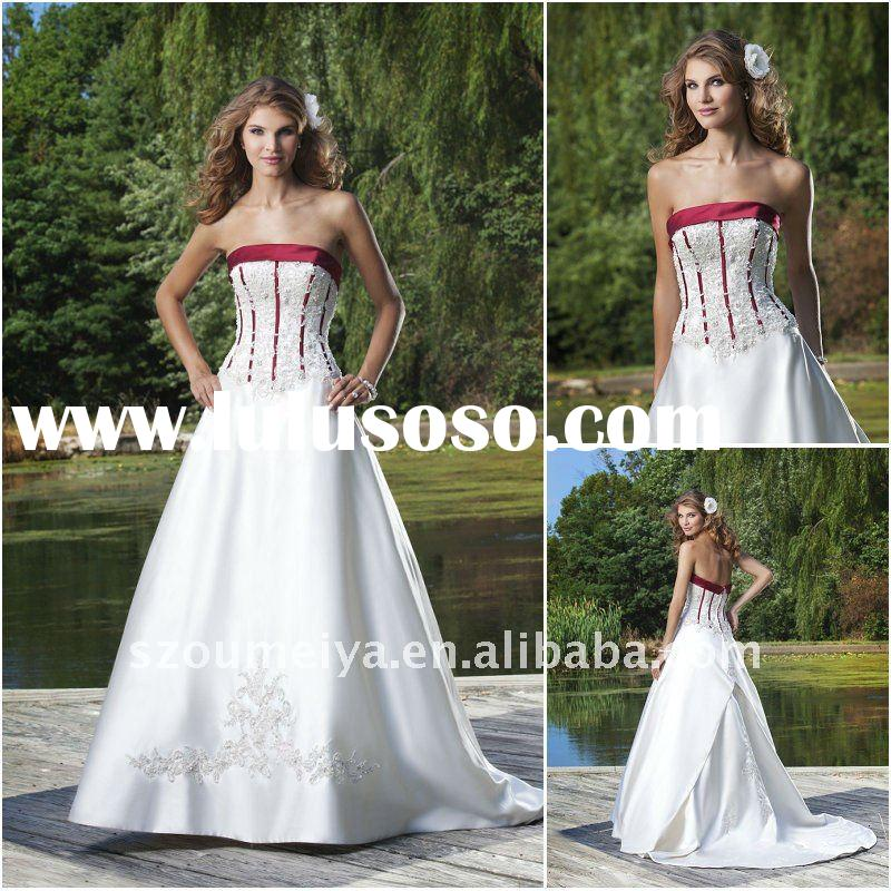 OUMEIYA ONW7 Lace Applique Red and White Vintage Wedding Dresses 2012
