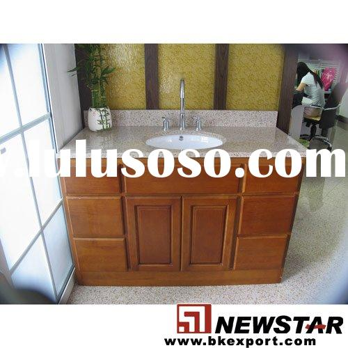 Oak Bathroom Cabinet with Marble Vanity Tops and Undermount Ceramic Sinks