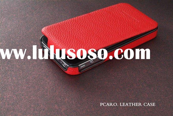 Pcaro Genuine Flip Leather Case for iPhone4, Baron Classic Series Black/White/Brown/Red IP-0989