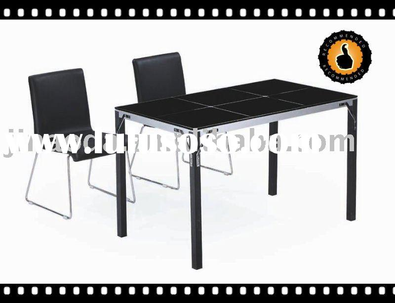 Popular black Top Glass Dining table