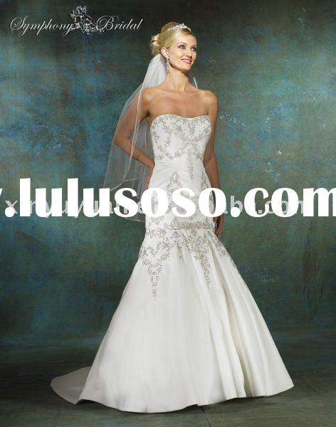Popular reasonable price custom made strapless design mermaid top sell wedding dress/bridal gown SYW