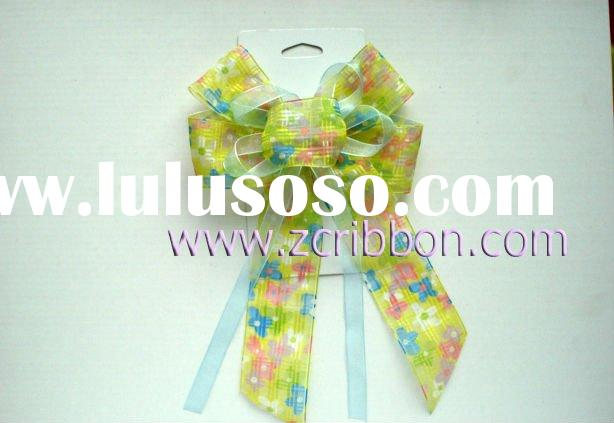 Printed Organza Ribbon Butterfly Bow