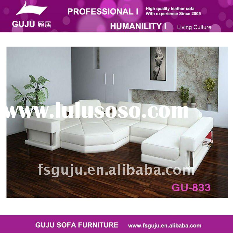 Pure White Leather Sofa set for living room ( GU-833)