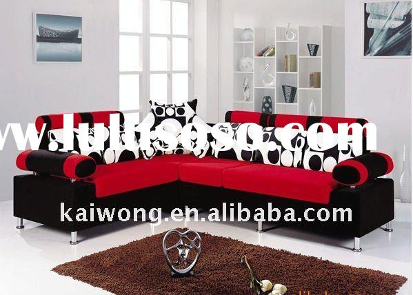 Red and black leather sofa designs 2011(KW30147)
