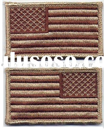 Reverse & normal embroidery usa flag patch with Velcro backing patch for U.S. military