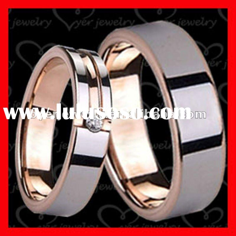 Rose Gold love forever tungsten wedding rings