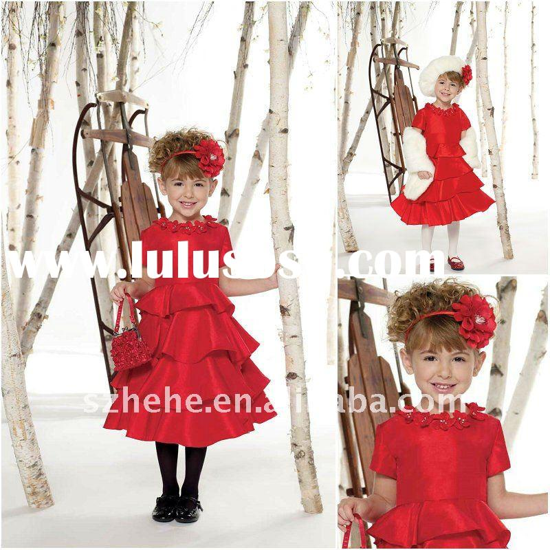 Short sleeves tea length tiered taffeta skirt red flower girl dress wholesale price