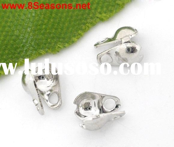 Silver Tone Calottes End Crimps Beads Tips Ball Chain Connector Clasp 6x4.5mm(Fit for 2.4mm Necklace