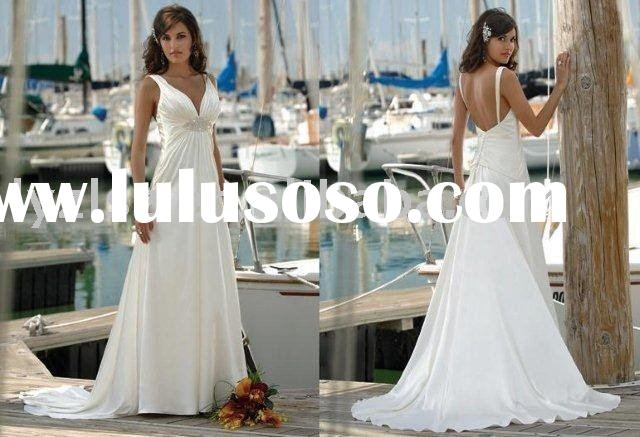 Sleek A-line v-neck backless ruched floor-length satin wedding dress for bride YW112436