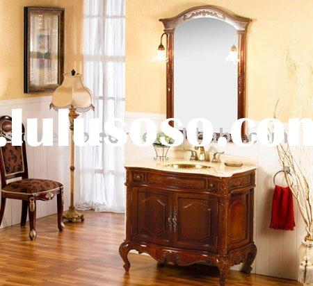 Solid Oak Wood Bathroom Cabinets,Bathroom Vanity,Wooden Cabinet with Ceramic Basin and Marble Vanity