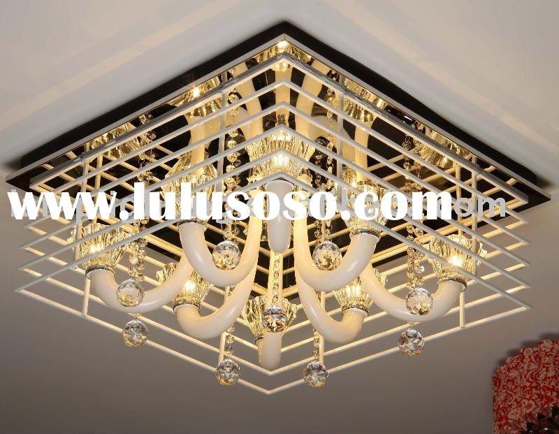 Square rail crystal ceiling lamp/light for hotel project and home decoration