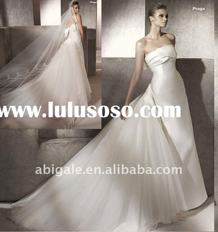 Strapless A-line Cathedral train Satin Bride Wedding Gown(PN10164)