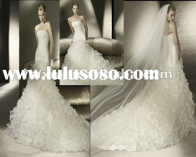 Strapless Mermaid Satin Lace with hand embroidered Ivory 2012 Beautiful Bridal Wedding Dress