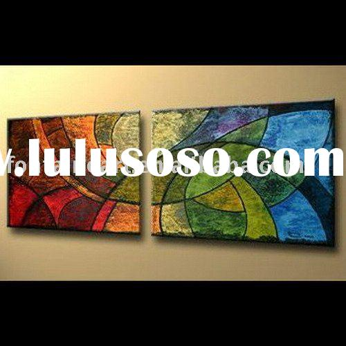 Strong Decorative Modern Group Oil Painting,Textured(2 panels)