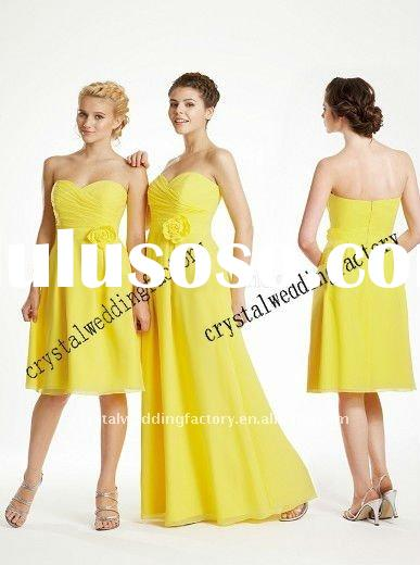 Stunning sweetheart appliqued ruched yellow chiffon custom-made bridesmaid dress CWFab2990