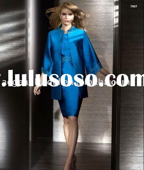Style 7607 beaded taffeta long sleeves jacket knee length mother of the bride dresses