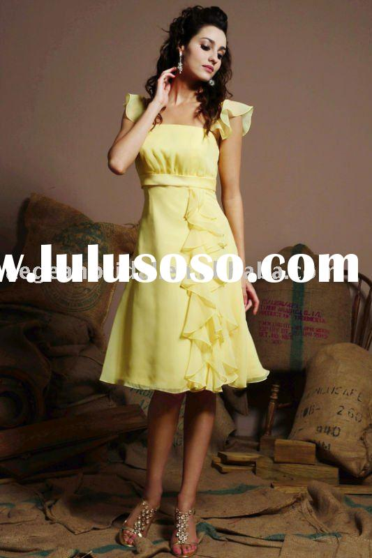 Style RZ-bd087 cap sleeve pleated yellow chiffon bridesmaid knee length dresses