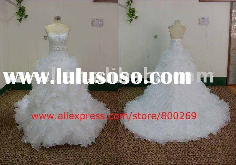 Sweetheart wedding dress organza long train 2011 SL-4496
