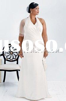 TMT1265 V-neck halter dress with ruched bodice Dropped waist band with beaded embroidery plus size w