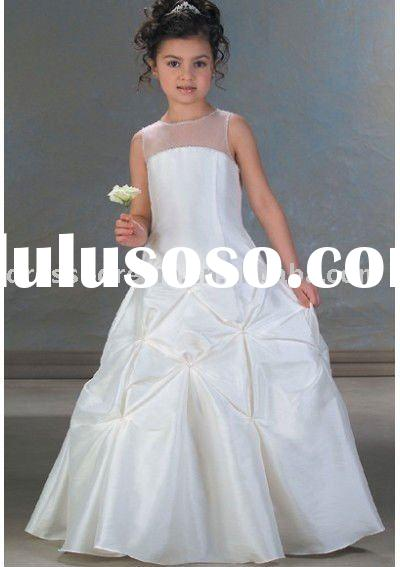 Taffeta pick-up A-line flower girl dresses with beaded neckline