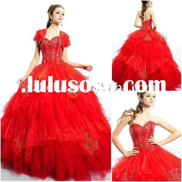 Tiered organza red quinceanera dress with short sleeve jacket