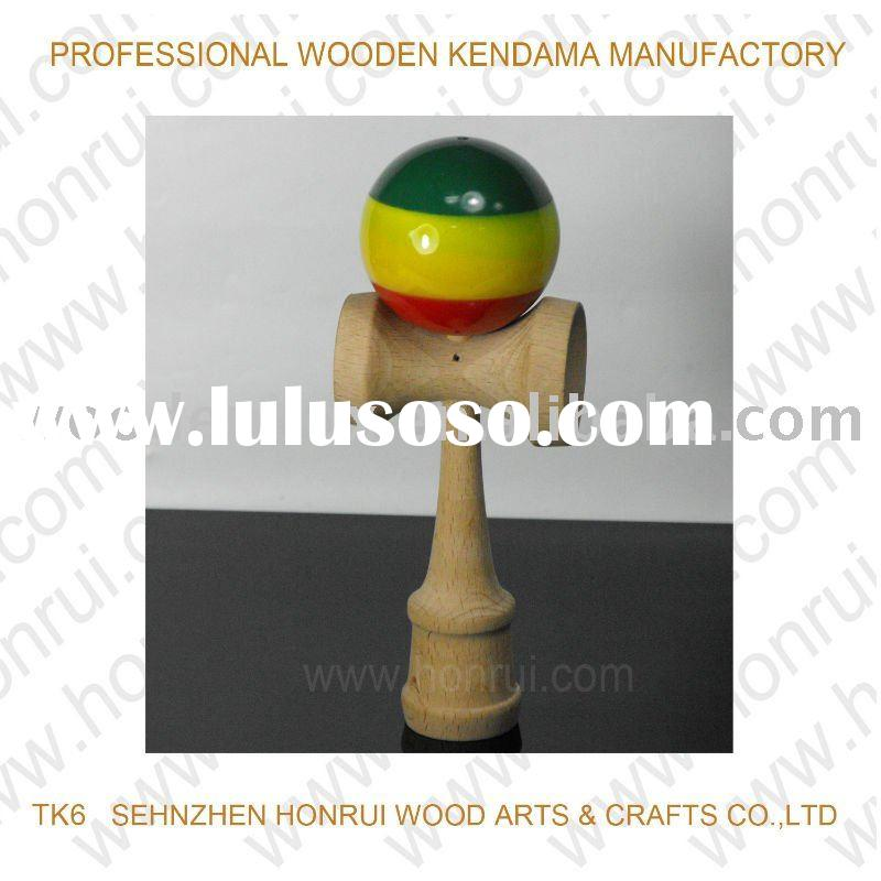 Traditional wooden kendama toys and games