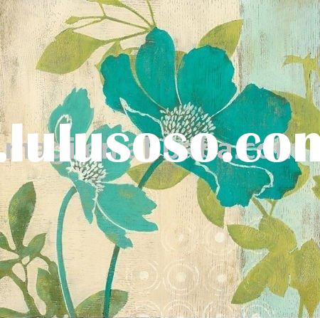 Two Blue Flowers Canvas Flower Oil Painting