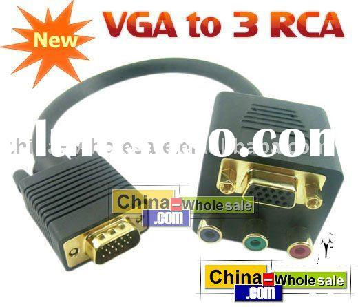 VGA to 3 RGB RCA +VGA Extension Cable Adapter Converter