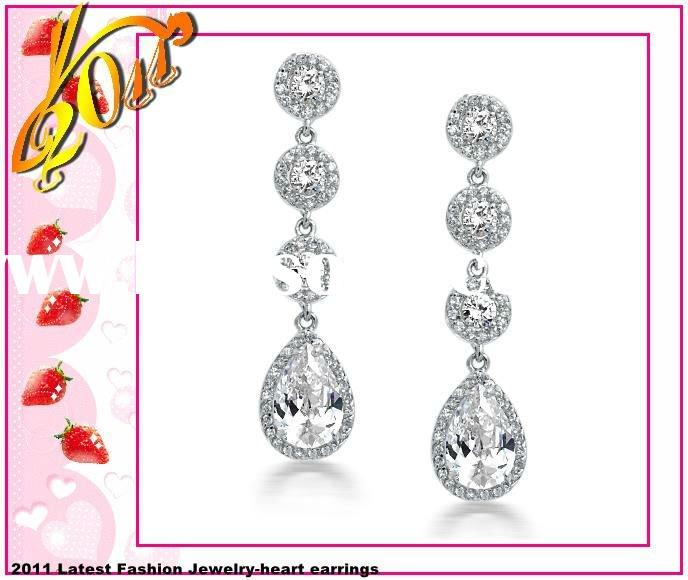 Vintage Silver Crown Set CZ Diamond PaveTeardrop Chandelier Earrings