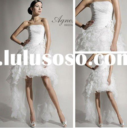 WD3049 A-line Backless Tulle Short Wedding Dress Long Train