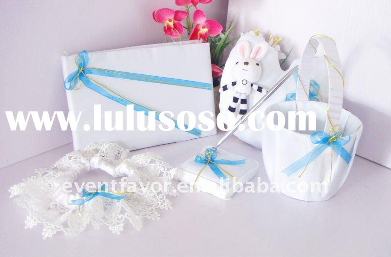 Wedding Accessories Baby Blue Lovely Wedding Guest Book , Ring Pillow, Pen Holder Set