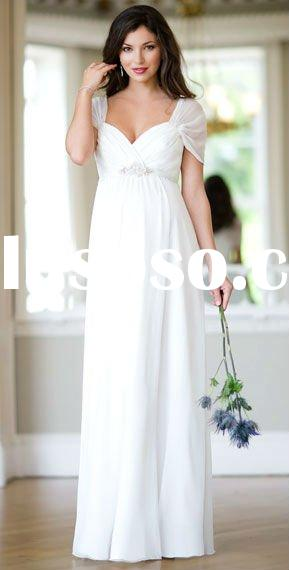 White Elegant Off-the-shoulder Vintage Beaded Chiffon Pregnant Maternity Bridal Gowns Wedding Dress