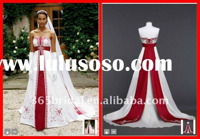 White and Red A Line Strapless Embroidered Satin wedding gowns and bridal dress 2012