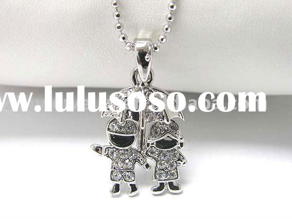 White gold plating crystal stud boy and girl in umbrella pendant necklace