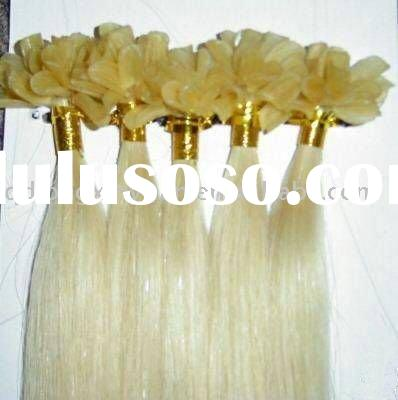 Wholesale 100% remy Blond U tip nail keratin human hair extension