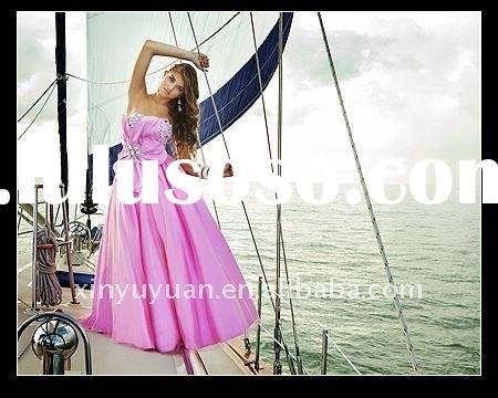 Wholesale 2011 Princess Ball Pink Strapless Ankle Length Taffeta Beaded Gown Evening Dress Night Par