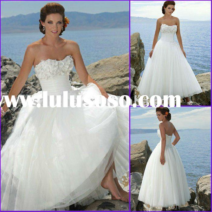 Wholesaple price white tulle tea length beach wedding dresses