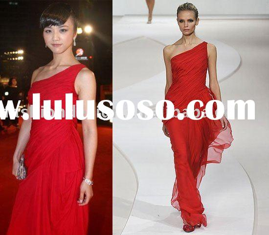 XDZR173 Elegant one shoulder chiffon Red carpet celebrities dresses
