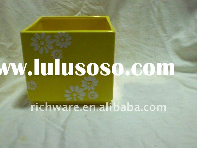 Yellow Ceramic Square Flower Pot