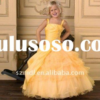 Yellow Organza Spaghetti Straps Puffy Hem Layered Flower Girl Dress