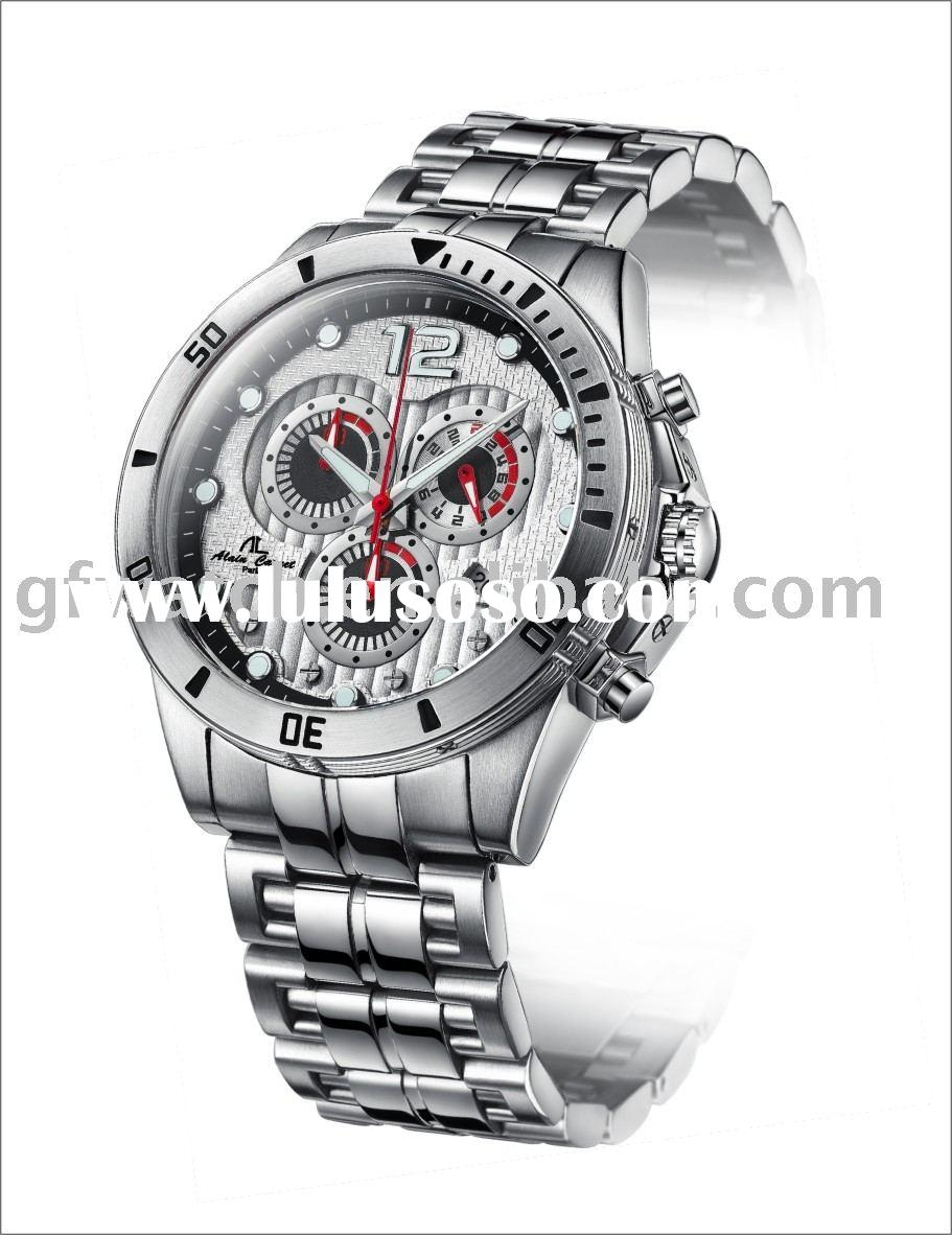 all stainless steel Japan movement sporty quartz watches men