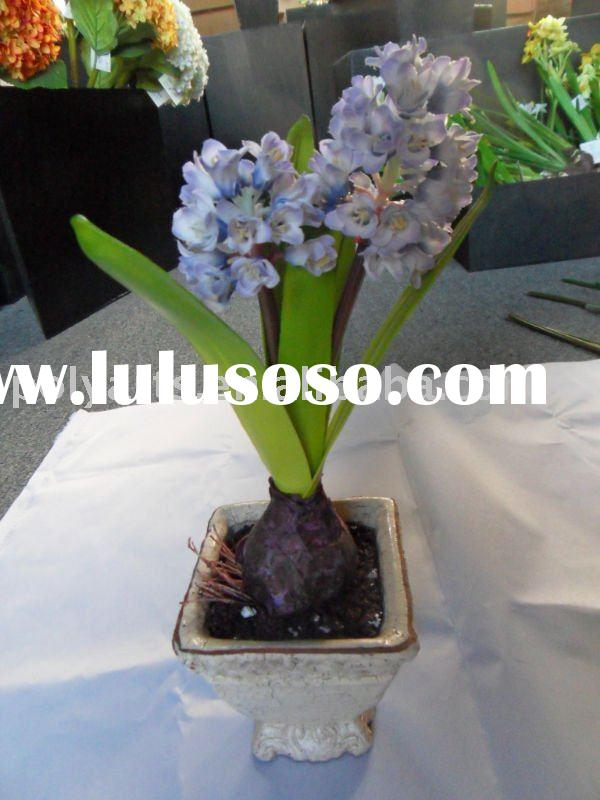 artificial flower,decorative,real touch flower,(two pcs)potted hyacinth