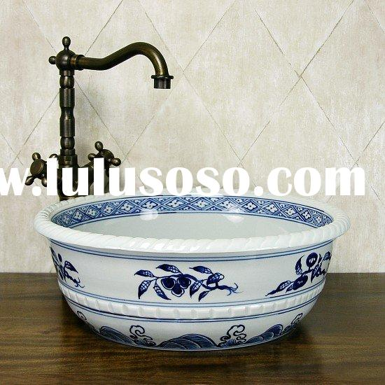 blue-and-white hand painted ceramic basin