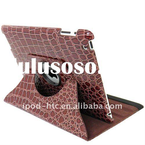 "brown color 360"" Rotating Leather Case for iPad 2 with Crocodile Line"