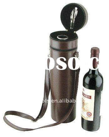 circular leather wine box with wine accessories,deluxe wine box with accessories