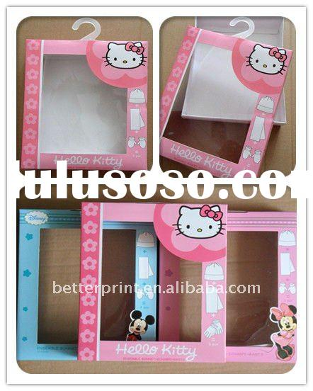 colorful packing baby clothes packaging paper bag boxes printing service with PVC window