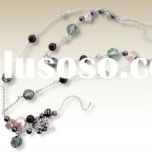 complicated design deep purple sparking pearl clear grey crystal beads silver plating pendant neckla